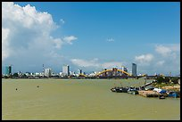 River and city skyline. Da Nang, Vietnam (color)