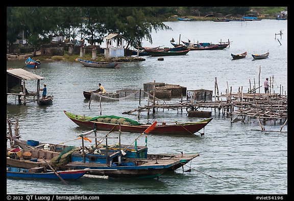 Boats and piers. Vietnam (color)