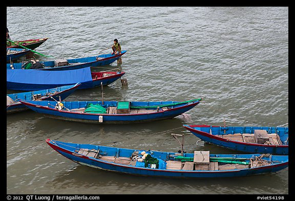 Blue fishing sampans from above. Vietnam (color)