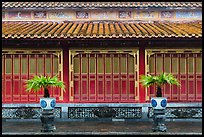 Facade with red and golden doors, imperial citadel. Hue, Vietnam (color)