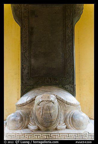 Stone turtle with a stele on its back, Thien Mu pagoda. Hue, Vietnam (color)