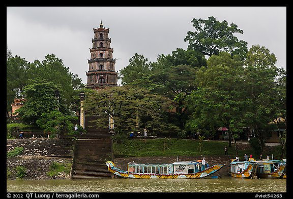 Phuoc Duyen Tower seen from river. Hue, Vietnam (color)