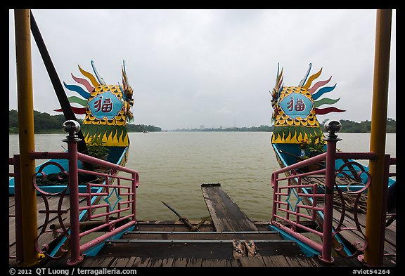 Perfume River seen from Dragon boat. Hue, Vietnam (color)