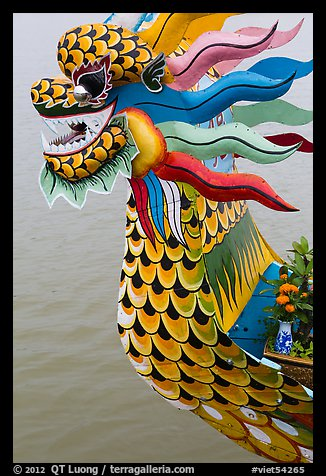 Prow of dragon boat. Hue, Vietnam (color)