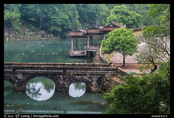 Stone bridge, pavilion, and Luu Khiem Lake, Tu Duc Tomb. Hue, Vietnam (color)