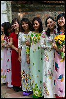Women in Ao Dai, Temple of the Litterature. Hanoi, Vietnam ( color)