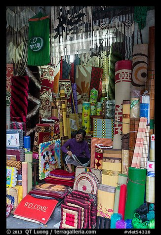 Store selling mats and rugs, old quarter. Hanoi, Vietnam (color)