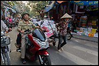Street scene, old quarter. Hanoi, Vietnam (color)