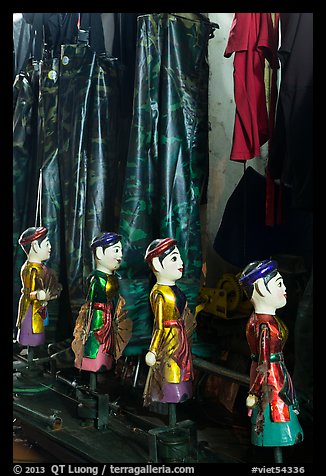Puppets and waterproof bibs, Thang Long Theatre. Hanoi, Vietnam (color)