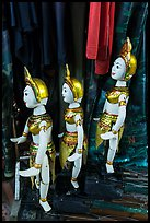 Puppets and clothing worn by water puppeters, Thang Long Theatre. Hanoi, Vietnam ( color)