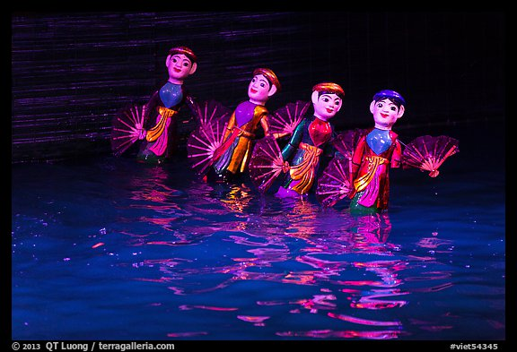 Water puppets (4 characters with fans), Thang Long Theatre. Hanoi, Vietnam (color)