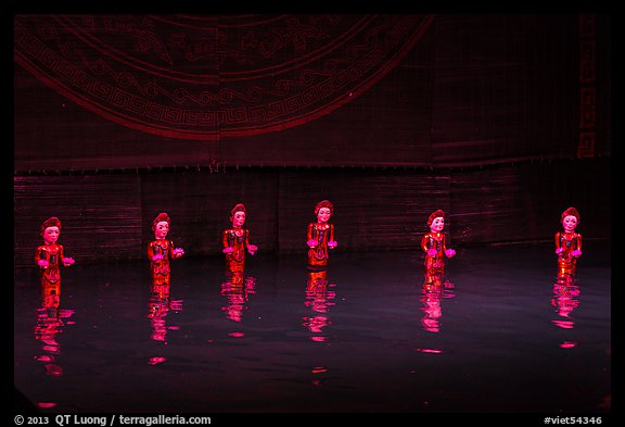 Water puppets (6 characters with lotus), Thang Long Theatre. Hanoi, Vietnam (color)