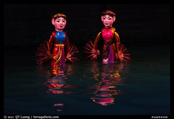Water puppets (2 characters with fans), Thang Long Theatre. Hanoi, Vietnam (color)