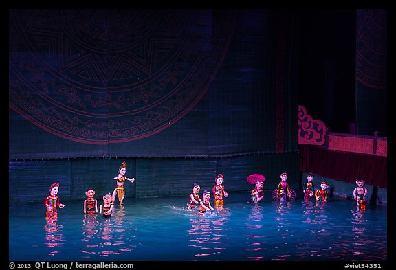 Water puppets (12 characters from various skits), Thang Long Theatre. Hanoi, Vietnam (color)