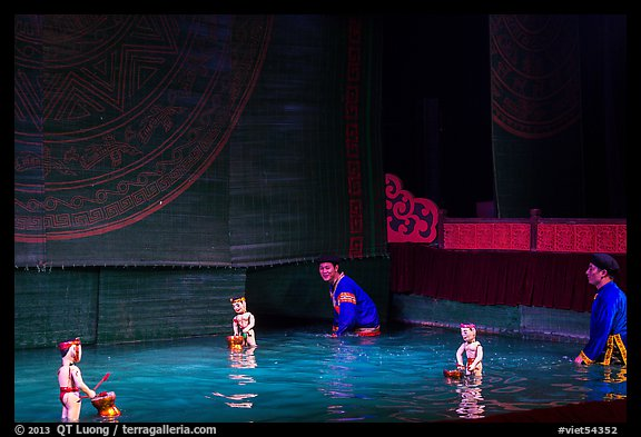Water puppets and puppeters, Thang Long Theatre. Hanoi, Vietnam (color)