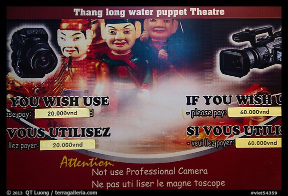 Camera use regulations, Thang Long Theatre. Hanoi, Vietnam (color)