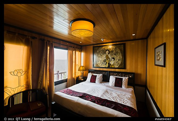 Indochina Sails stateroom and view. Halong Bay, Vietnam (color)