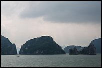 Limestone monolithic islands. Halong Bay, Vietnam ( color)