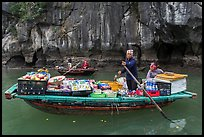 Grocer on rowboat. Halong Bay, Vietnam ( color)