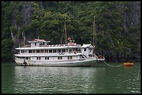 Tour boat painted white. Halong Bay, Vietnam ( color)