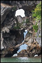 Openings through rocks. Halong Bay, Vietnam ( color)