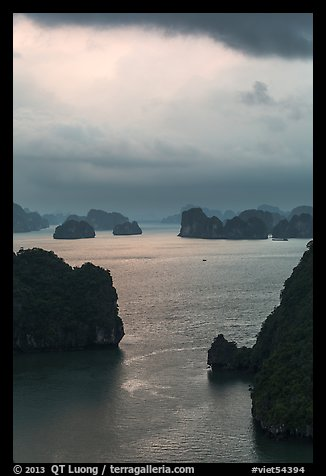 Seascape with limestone islets from above, evening. Halong Bay, Vietnam (color)