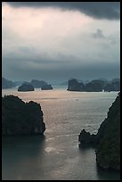 Seascape with limestone islets from above, evening. Halong Bay, Vietnam ( color)