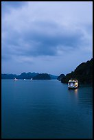 Tour boats lights at dawn. Halong Bay, Vietnam (color)
