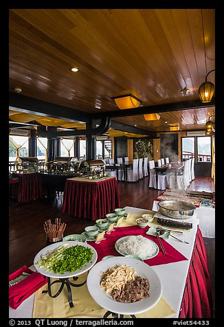 Pho buffet in tour boat dining room. Halong Bay, Vietnam (color)