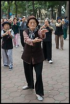 Elderly women practising Tai Chi. Hanoi, Vietnam (color)