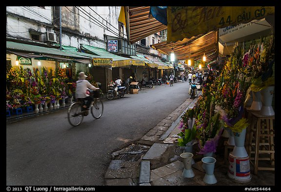 Street with flower sellers in early morning, old quarter. Hanoi, Vietnam (color)