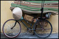 Bicycle loaded with mats, old quarter. Hanoi, Vietnam ( color)