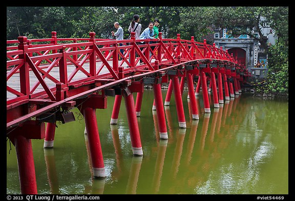 The Huc Bridge leading to Jade Island. Hanoi, Vietnam
