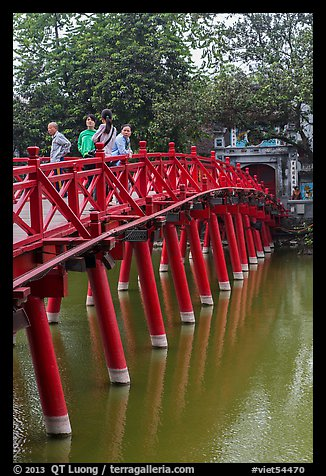 The Huc (morning sunlight) Bridge. Hanoi, Vietnam (color)