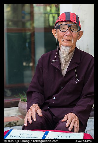 Elderly fortune teller, Trang An. Vietnam (color)