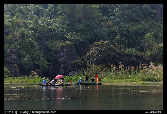 Distant wedding party, Trang An. Ninh Binh,  Vietnam (color)