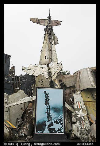 Wreckage of downed B52 bomber. Hanoi, Vietnam (color)