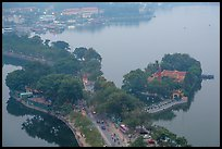 West Lake and pagoda from above. Hanoi, Vietnam (color)