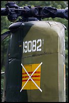 Helicopter tail with crossed-out flag of South Vietnam, Hanoi Citadel. Hanoi, Vietnam ( color)