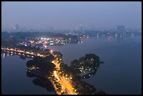 West Lake and city skyline from above by night. Hanoi, Vietnam ( color)