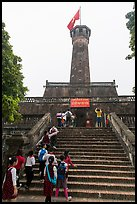 Schoolchildren visiting Flag Tower, Hanoi Citadel. Hanoi, Vietnam ( color)