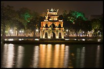 Turtle tower at night, Hoang Kiem Lake. Hanoi, Vietnam (color)
