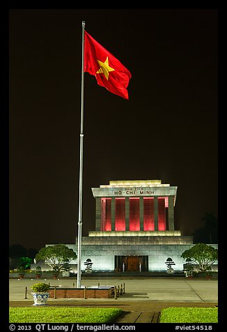 Vietnamese flag flying in front of Ho Chi Minh Mausoleum. Hanoi, Vietnam (color)