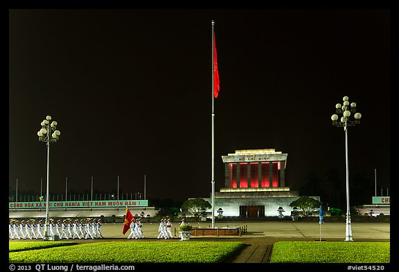 Guards marching in front of Ho Chi Minh Mausoleum at night. Hanoi, Vietnam (color)