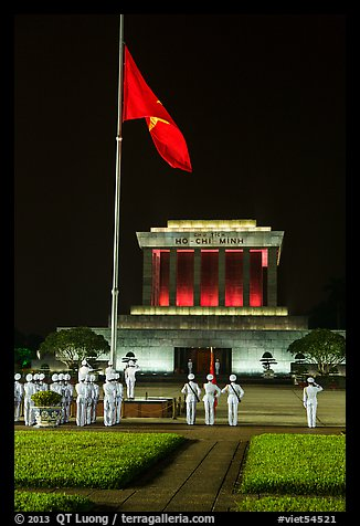 Vietnam flag lowering ceremony, Ho Chi Minh Mausoleum. Hanoi, Vietnam (color)
