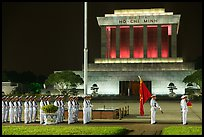 White uniformed guards in front of Ho Chi Minh Mausoleum. Hanoi, Vietnam (color)