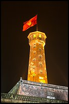 Flag tower at night, Thanh Long Citadel. Hanoi, Vietnam ( color)