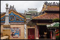 Roof and wall details, Le Van Duyet temple, Binh Thanh district. Ho Chi Minh City, Vietnam (color)
