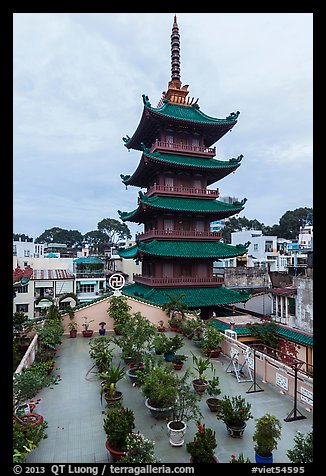 An Quang Pagoda from rooftop garden, district 10. Ho Chi Minh City, Vietnam (color)