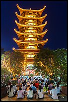 Night Religious service, Quoc Tu Pagoda, district 10. Ho Chi Minh City, Vietnam (color)